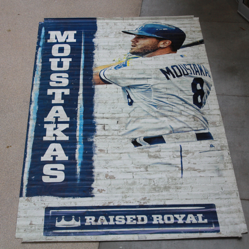 Photo of Extra Large Team-Issued Banner: Mike Moustakas Raised Royal