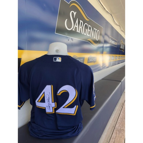 Photo of Craig Counsell Team-Issued, Autographed Jackie Robinson Day Jersey