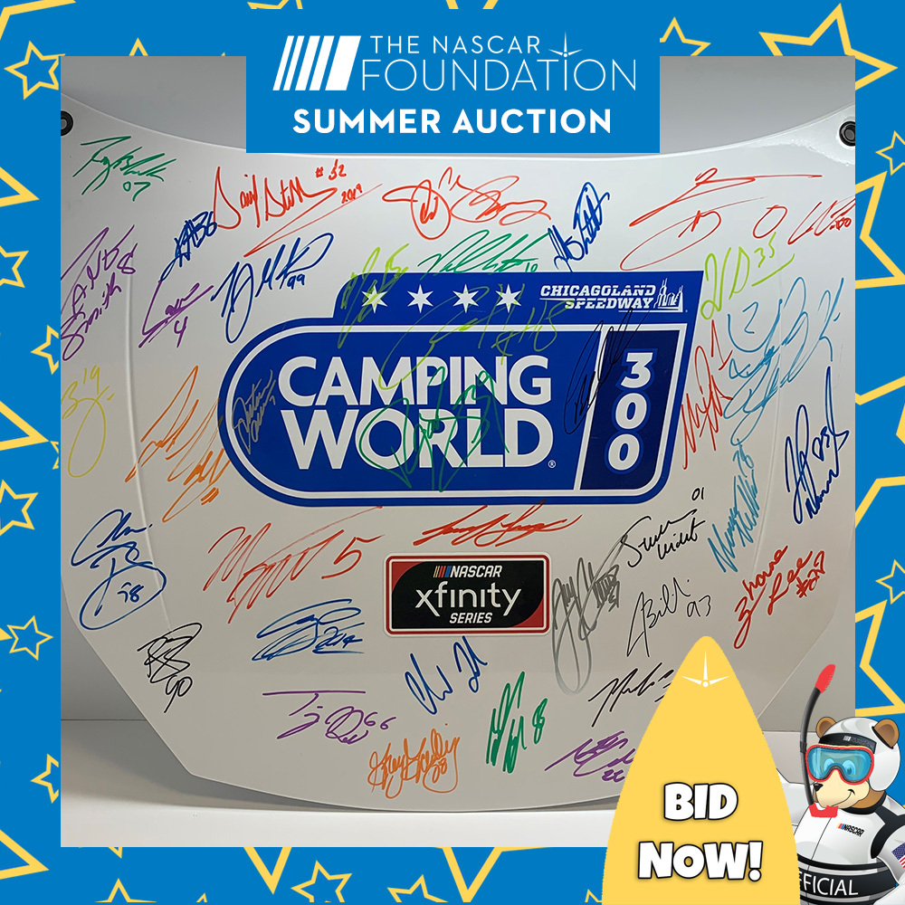NGOTS Autographed Camping World 225 replica hood from Chicagoland!