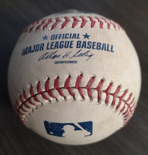 Photo of Authenticated Game Used Baseball - Wild Pitch to Derek Jeter against J.A. Happ (Aug 27, 13 vs NYY). Top 1.