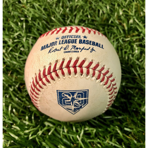 Photo of 20th Anniversary Game Used Baseball: Tyler Glasnow strikes out Albert Pujols - August 1, 2018 v LAA