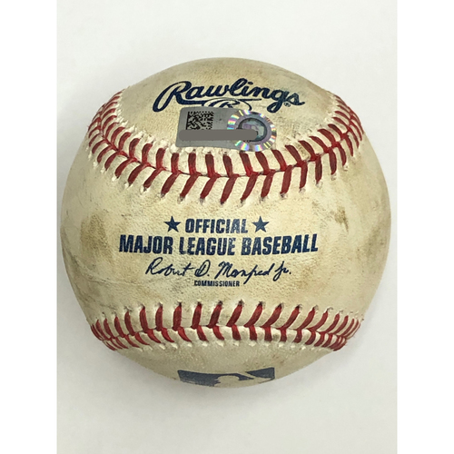 Photo of Game Used Baseball - 8/5/20 - Batter: Eugenio Suarez, Pitcher: Mike Clevinger - Foul Ball