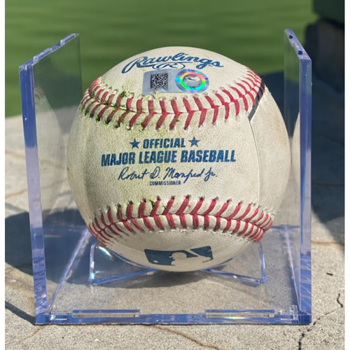 Photo of Game-Used Baseball - Pitcher: Chi Chi Gonzalez, Batter: Clayton Kershaw (Single to Raimel Tapia); Batter: Mookie Betts (Double to Garrett Hampson) - 2021 Opening Day: April 1st.
