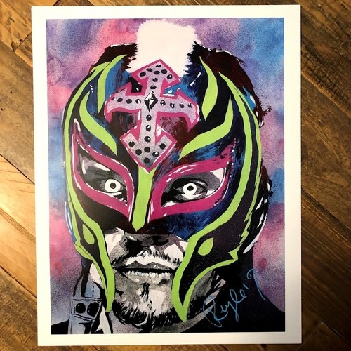 Photo of Rey Mysterio SIGNED Rob Schamberger 11 x 14 Art Print