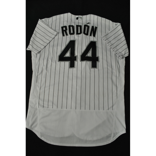 Photo of Hank Aaron Chasing the Dream Foundation: Carlos Rodon 2021 MLB All-Star Workout Day BP-Worn # 44 Jersey