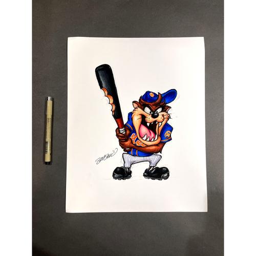 "Photo of New York Mets Original Art - ""Taz On Deck"" MLB x Looney Tunes by artist S. Preston"