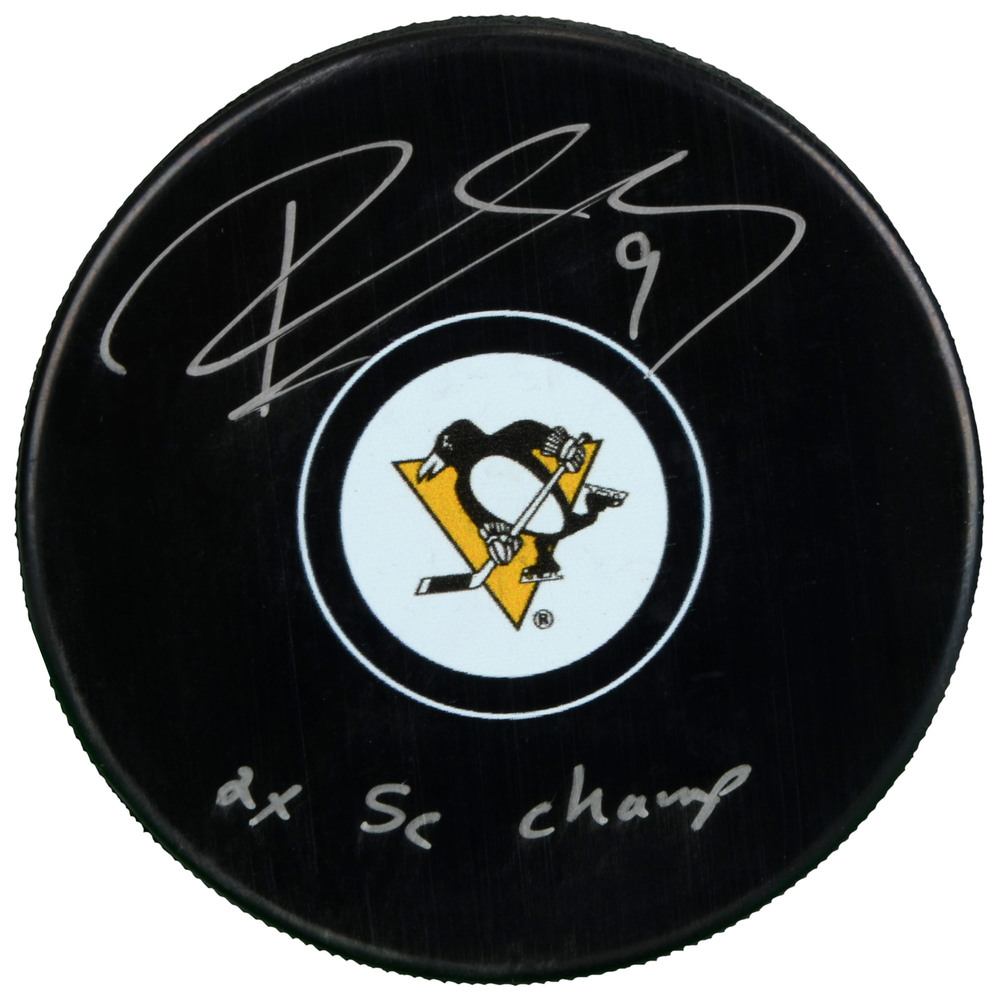 Pascal Dupuis Pittsburgh Penguins Autographed Hockey Puck with 2x SC Champs Inscription