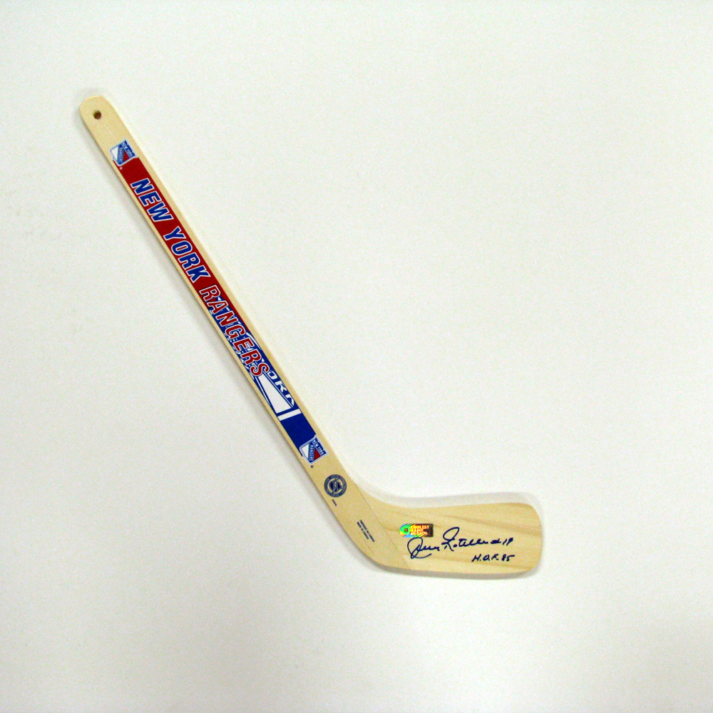 JEAN RATELLE Signed Mini Stick with HOF Inscription - New York Rangers