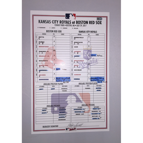 Photo of Royals at Red Sox July 29, 2017 Game-Used Lineup Card - Red Sox  Win 6 to 3