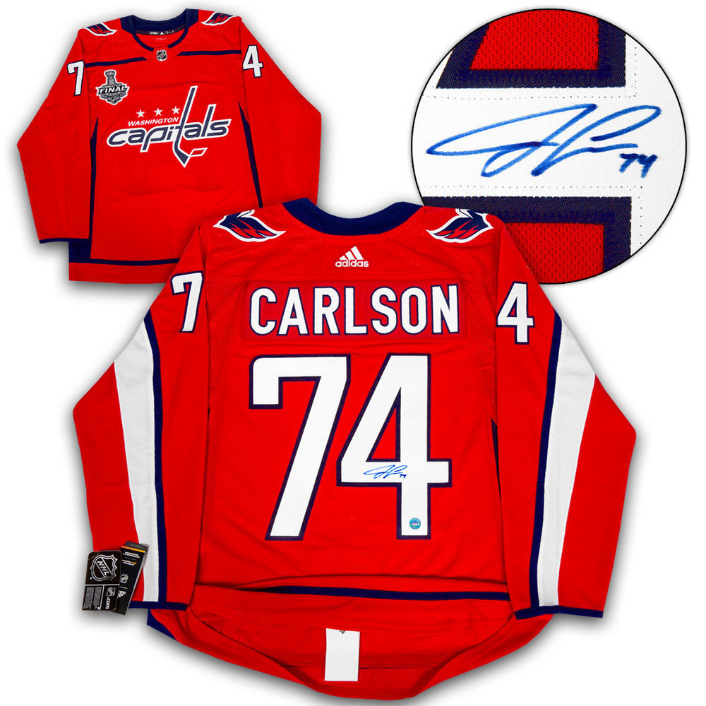 John Carlson Washington Capitals Autographed 2018 Stanley Cup Finals Adidas Authentic Hockey Jersey