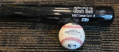 Photo of Josh Bell Game-Used Baseball and Broken Bat - RBI Single