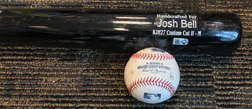 Photo of Josh Bell Game-Used Baseball and Broken Bat - RBI Single