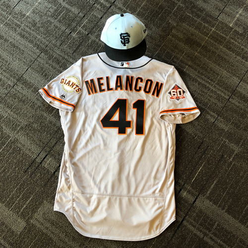 Photo of San Francisco Giants - Game Used Father's Day Blue Ribbon Jersey + Cap - #41 Mark Melancon (size 48 -  cap 7 1/4)