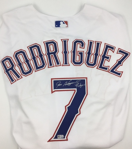 "Photo of Ivan Rodriguez ""Pudge"" Autographed Authentic Rangers Jersey"