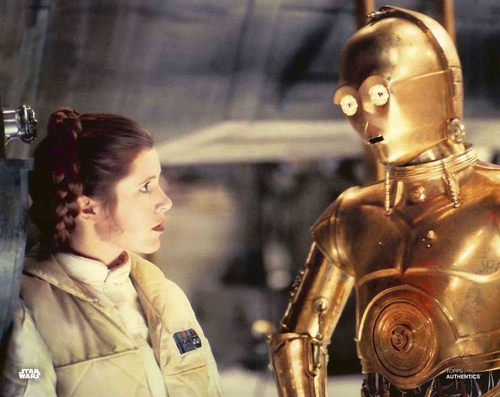 Carrie Fisher and Anthony Daniels as Princess Leia Organa and C-3PO