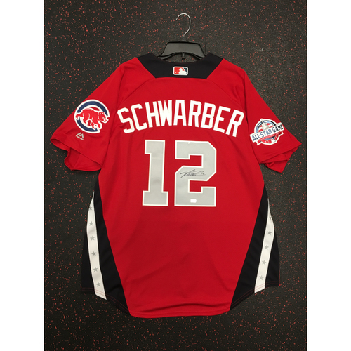 Photo of Kyle Schwarber 2018 Major League Baseball Workout Day Autographed Jersey