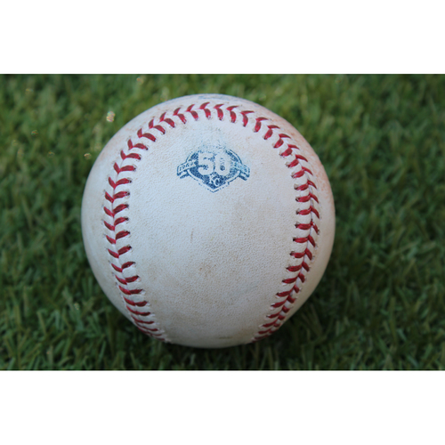 Photo of Game-Used Baseball: Pitched by Bartolo Colon During Most Wins by DR Born Pitcher Record Breaking Game (TEX @ KC - 6/18/18)