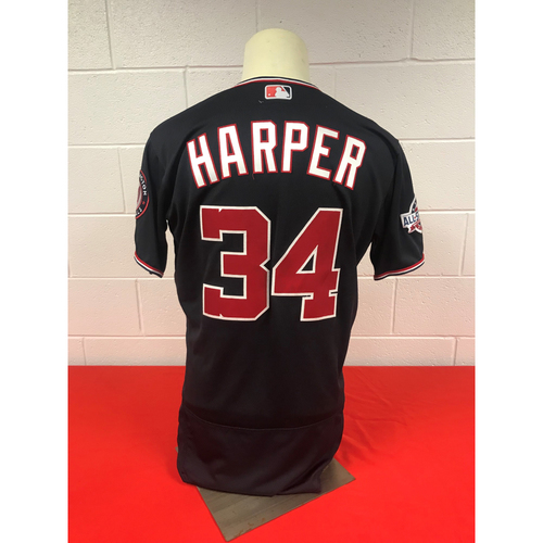 Photo of Bryce Harper Game-Used 2018 Navy Jersey with Script Nationals and All Star Game Patch