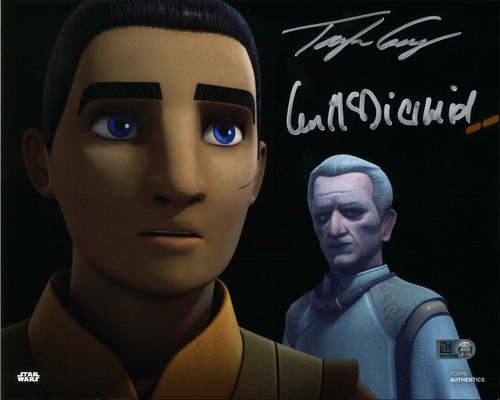 Ian McDiarmid and Taylor Gray As Emperor Palpatine and Ezra Bridger 8X10 Autographed in Silver Ink Photo