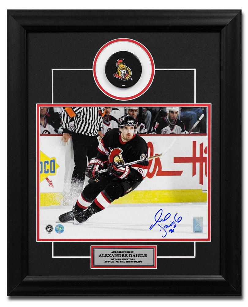 Alexandre Daigle Ottawa Senators Autographed Hockey 19x23 Puck Frame
