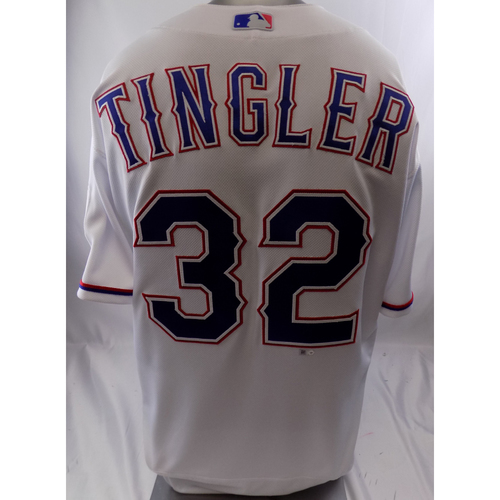 Photo of White Game-Used Jersey - Jayce Tingler - 3/28/19