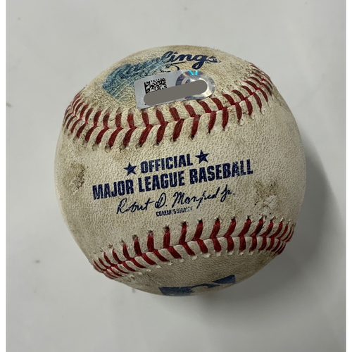 Photo of Game Used Baseball 8/12/20 - Batter: Anthony Rizzo, Pitcher: Carlos Carrasco - Home Run