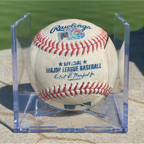 Photo of Game-Used Baseball - Pitcher: Antonio Senzatela, Batter: Mookie Betts (Double to Raimel Tapia) - April 2, 2021