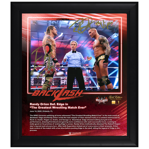 Photo of Edge and Randy Orton SIGNED BackLash 2020 WrestleMania Gold Edition Plaque (#1 of 1)