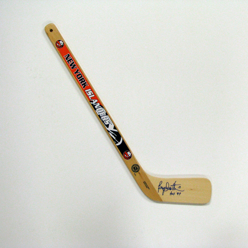 BRYAN TROTTIER Signed Mini Stick with HOF Inscription - New York Islanders