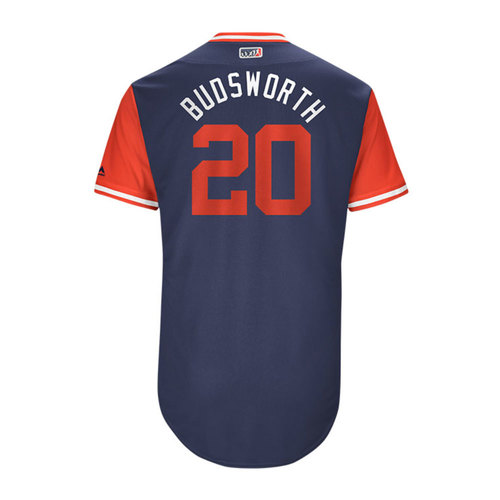 "Photo of Bud ""Budsworth"" Norris Los Angeles Angels 2017 Game-Used Players Weekend Jersey"