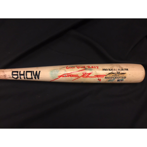 Photo of Scooter Gennett -- Game-Used & Autographed Bat -- Reds @ Braves on 8/19/2017