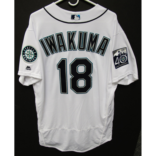 Photo of Hisashi Iwakuma Team-Issued Home White Jersey - 9-23-2017 - Size 48