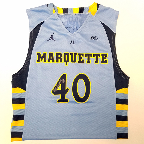 Photo of Luke Fischer Signed Marquette Championship Blue Jersey