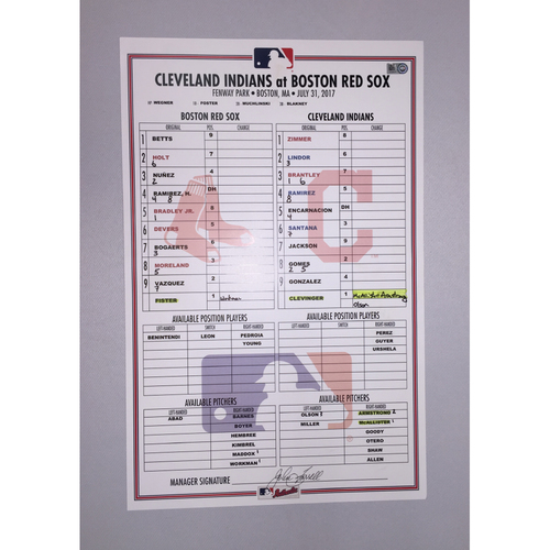 Photo of Indians at Red Sox July 31, 2017 Game-Used Lineup Card - Red Sox  Win 6 to 2
