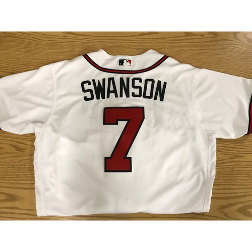 Photo of Dansby Swanson Game-Used 2018 Opening Day Jersey - Braves Walk-Off Win