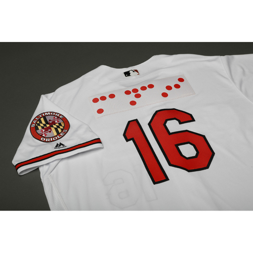 Photo of Adam Jones Autographed, Team-Issued Braille Jersey