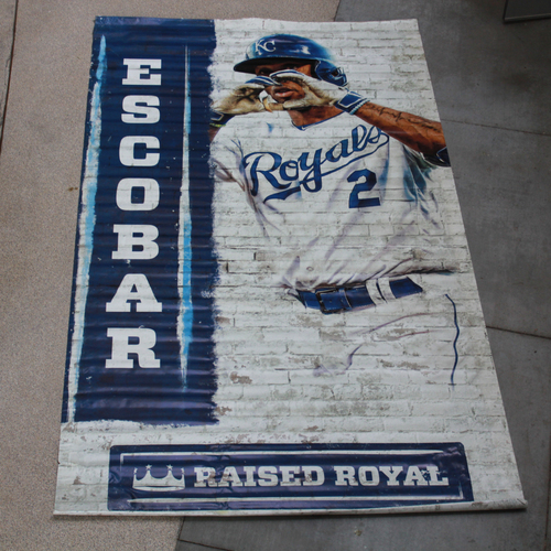 Photo of Extra Large Team-Issued Banner: Alcides Escobar Raised Royal