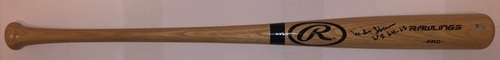 "Photo of Mike Shannon Autographed ""WS 64/67"" Blonde Rawlings Bat"