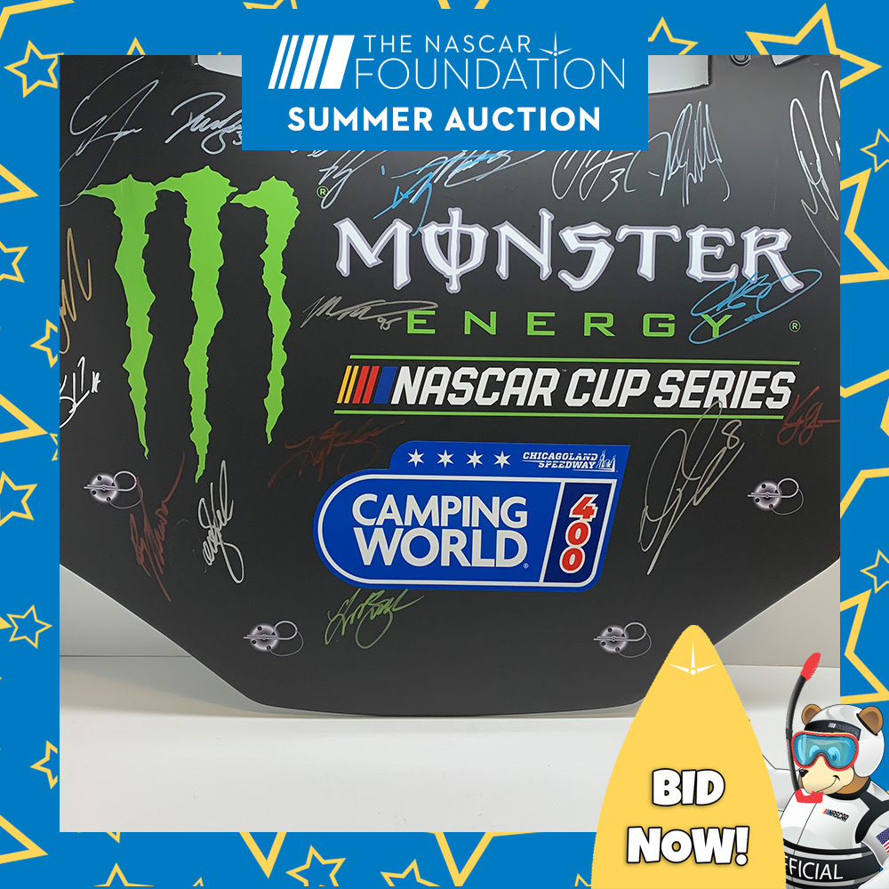 MENCS Autographed Camping World 400 replica hood from Chicagoland!