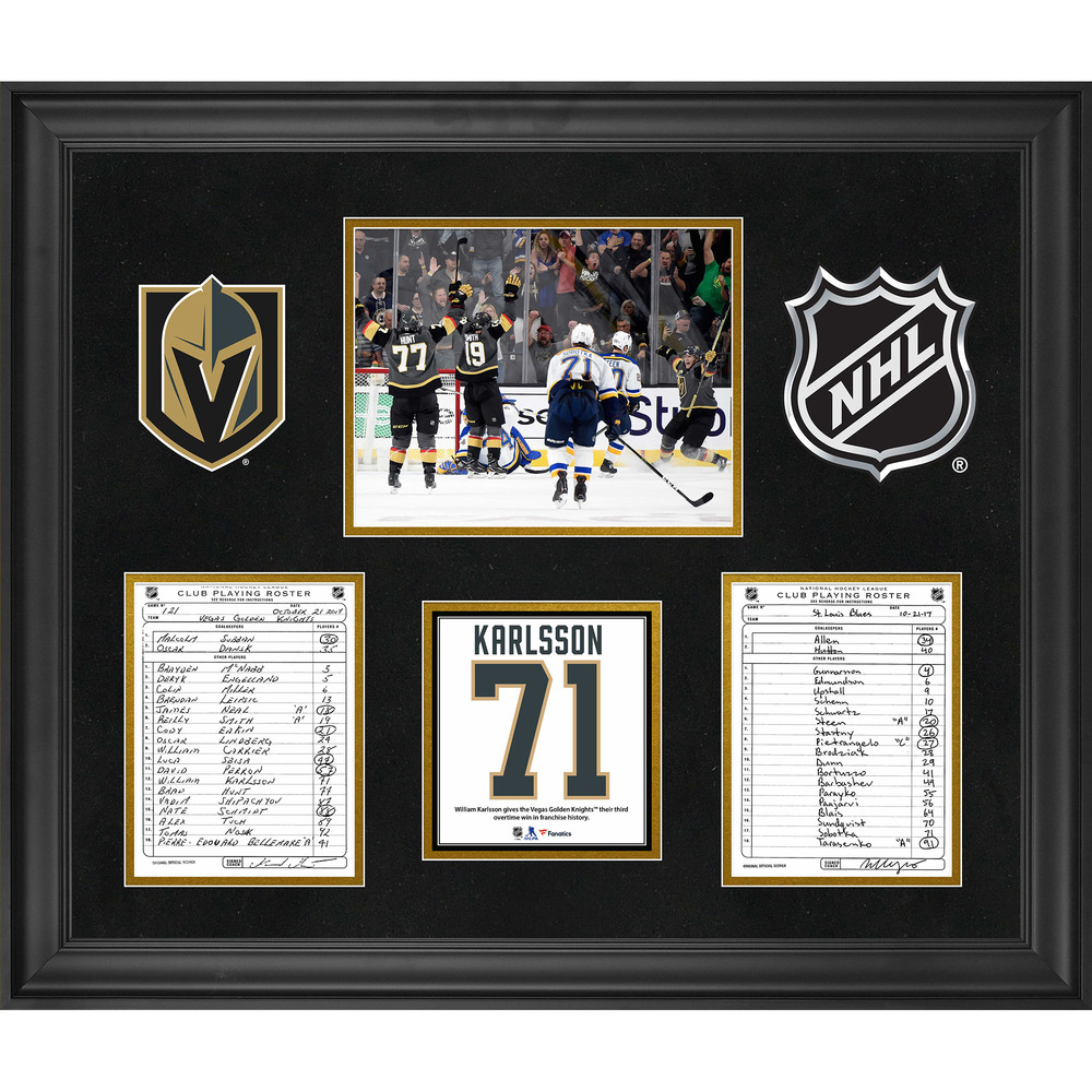 Vegas Golden Knights Framed Original Line-Up Cards from October 21, 2017 vs. St. Louis Blues - William Karlsson Nets Third Overtime Winner in Franchise History