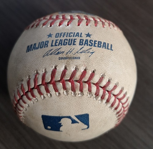 Photo of Authenticated Game Used Baseball - Derek Jeter reaches on error against Mark Buehrle (Jun 24, 14 vs NYY). Top 1.