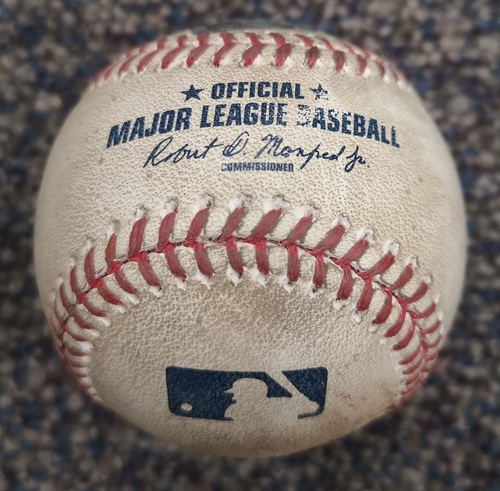 Photo of Authenticated Game Used Opening Day Baseball - Steve Pearce Walks against Wily Peralta (Apr 11, 17 vs MIL). Bottom 6
