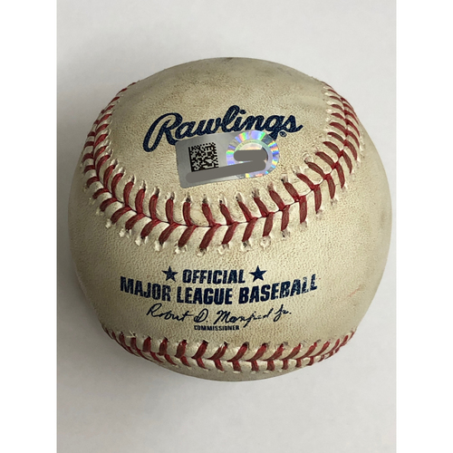 Photo of Game Used Baseball - 8/6/20 - Batter: Carlos Santana, Pitcher: Luis Castillo - Foul Ball