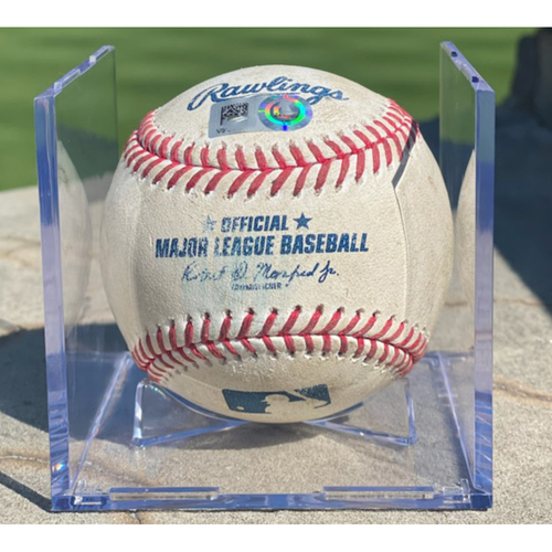 Photo of Game-Used Baseball - Pitcher: Trevor Bauer, Batter: Trevor Story (Strikeout Swinging) - April 2, 2021