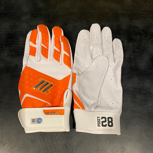 Photo of 2021 Team Issued Orange & White Marucci Batting Gloves (Pair) - #28 Buster Posey