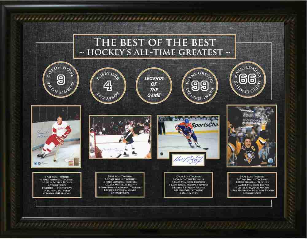 Multi-Signed Best of the Best Frame - Gordie Howe, Bobby Orr, Wayne Gretzky & Mario Lemieux