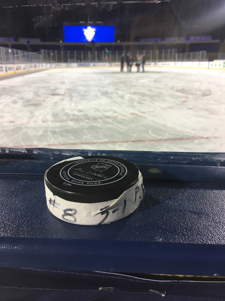 Nicklas Backstrom Washington Capitals Game-Used Goal Puck from the 2018 Stadium Series on March 3, 2018 vs. Toronto Maple Leafs