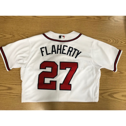 Photo of Ryan Flaherty Game-Used 2018 Opening Day Jersey - Braves Walk-Off Win