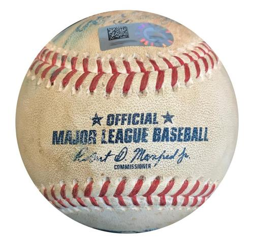 Photo of Game-Used Baseball from Pirates vs. Giants on 5/11/18 - Buster Posey Single - Career Hit #1199