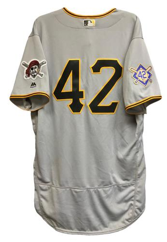 Photo of Josh Bell Game-Used 2018 Jackie Robinson Day Jersey - 3 for 5, 3 RBI, Run Scored